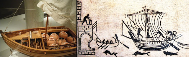 (Left) Model of a Roman merchant ship. (Right) Picture from a Roman mosaic.