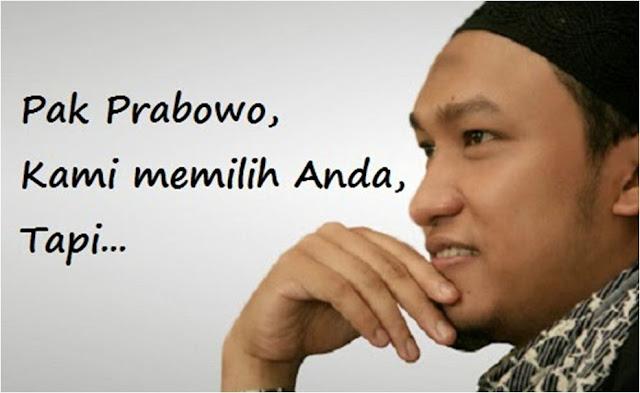 Salim A. Fillah: Pak Prabowo, Kami Memilih Anda, Tapi…