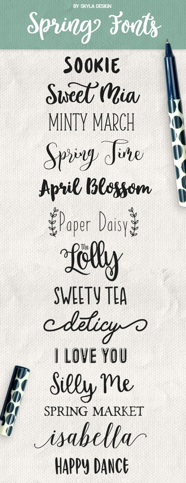 Cute, Handwritten, Spring fonts, some free