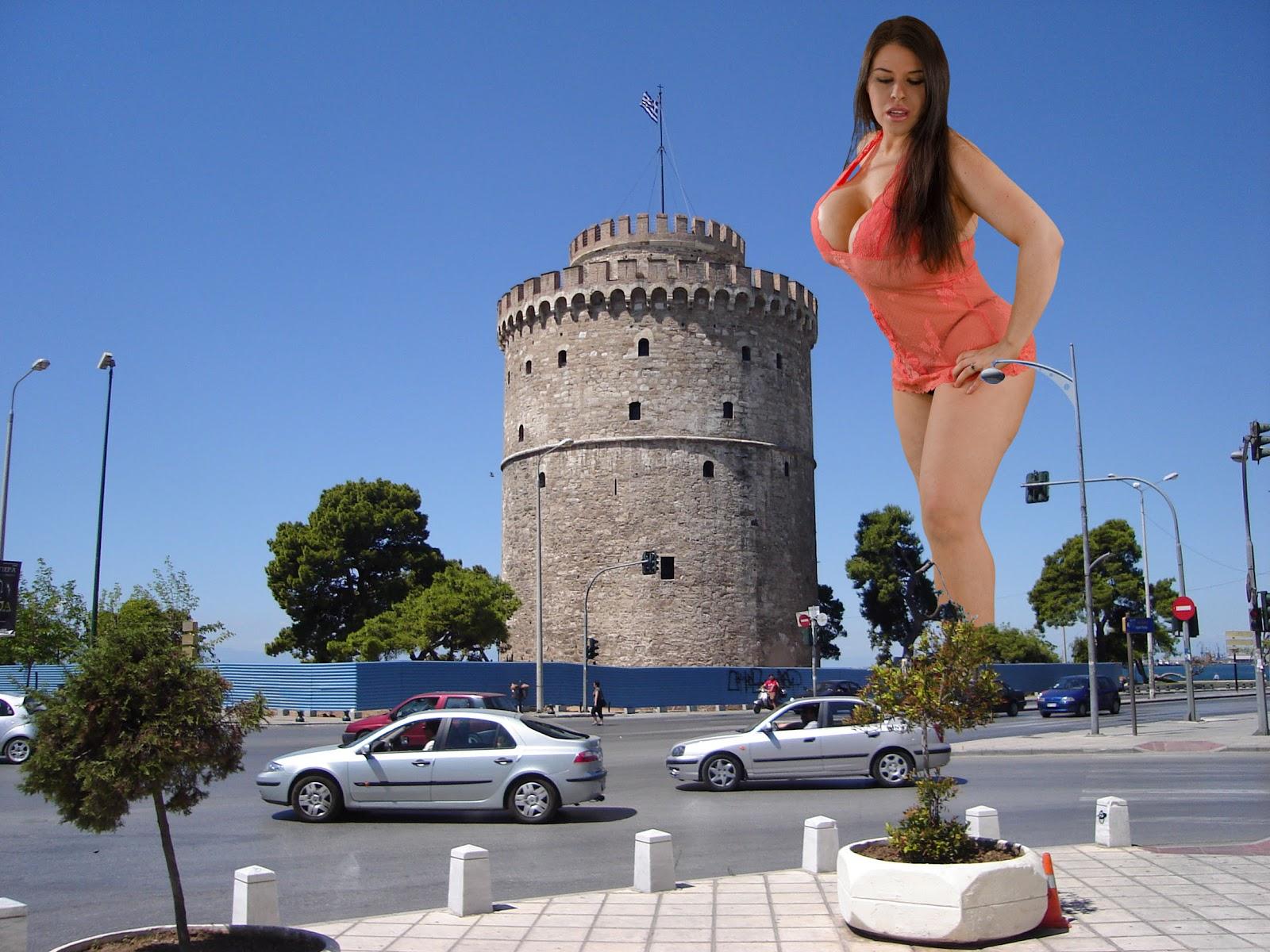 Giantess Dreamland: Giantess Daphne Rosen in Thesalloniki