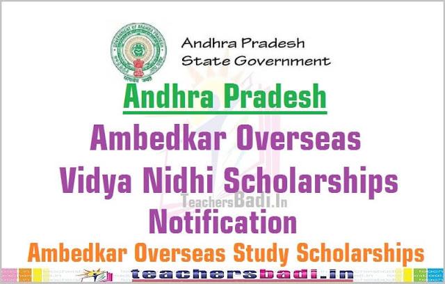 AP Ambedkar Overseas Vidya Nidhi scheme,Scholarships,notification