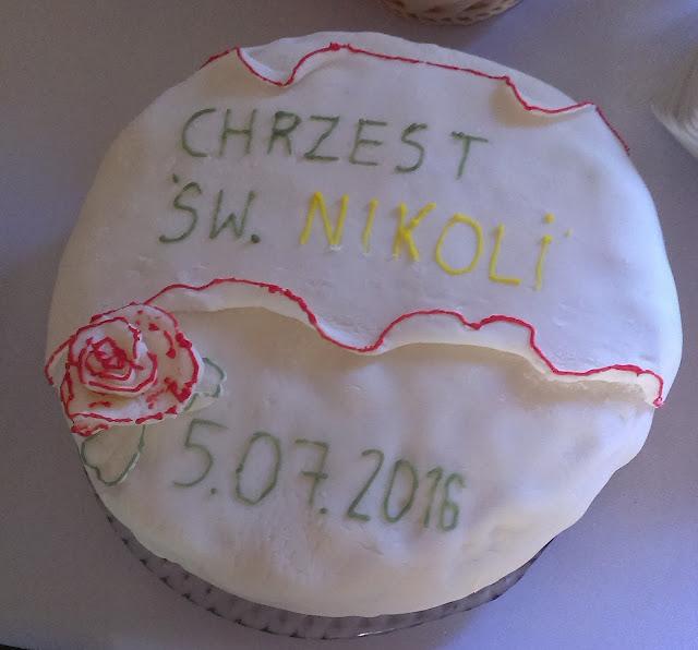 tortnachrzciny tort łatwy tort prosty przepis na chrzciny święta masa cukrowa masacukrowa chrzestna prezent jak zrobić cukier lipiec lato roczek