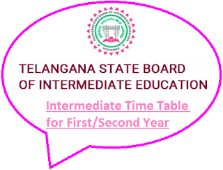 TS Intermediate Time Table 2019