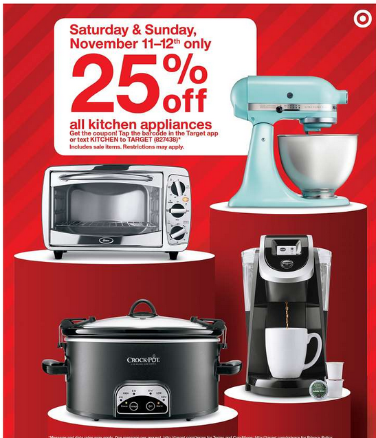 Target: 25% Off All Kitchen Appliances ( Nov 11 12th ONLY)
