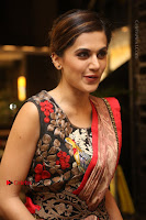 Tapsee Pannu Latest Stills in Red Silk Saree at Anando hma Pre Release Event .COM 0078.JPG
