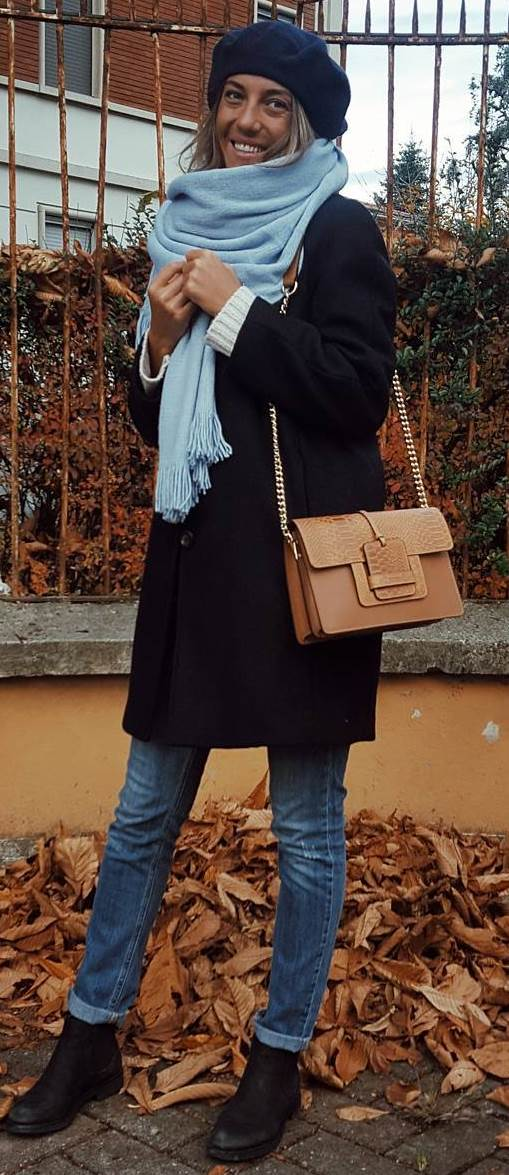incredible winter outfit / coat + bag + blue scarf + sweater + jeans + boots