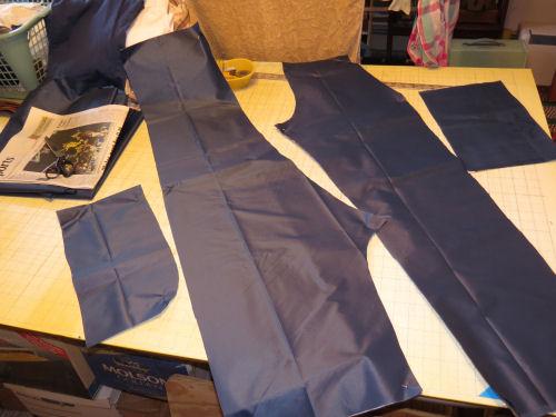 nylon rain suit pants cut out of fabric