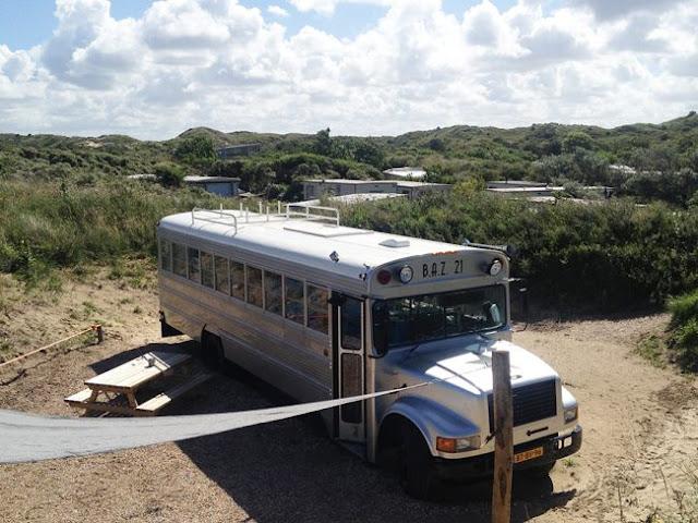 Dormir dans un schoolbus américain, aux Pays Bas