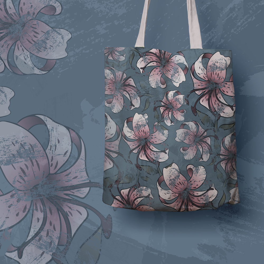 Canvas tote bag with floral aged print