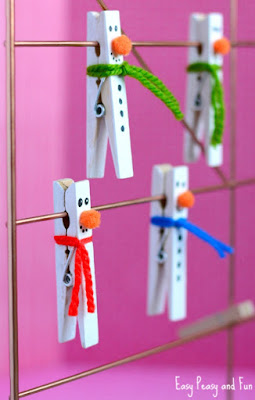 How to make your very own clothes peg snowmen