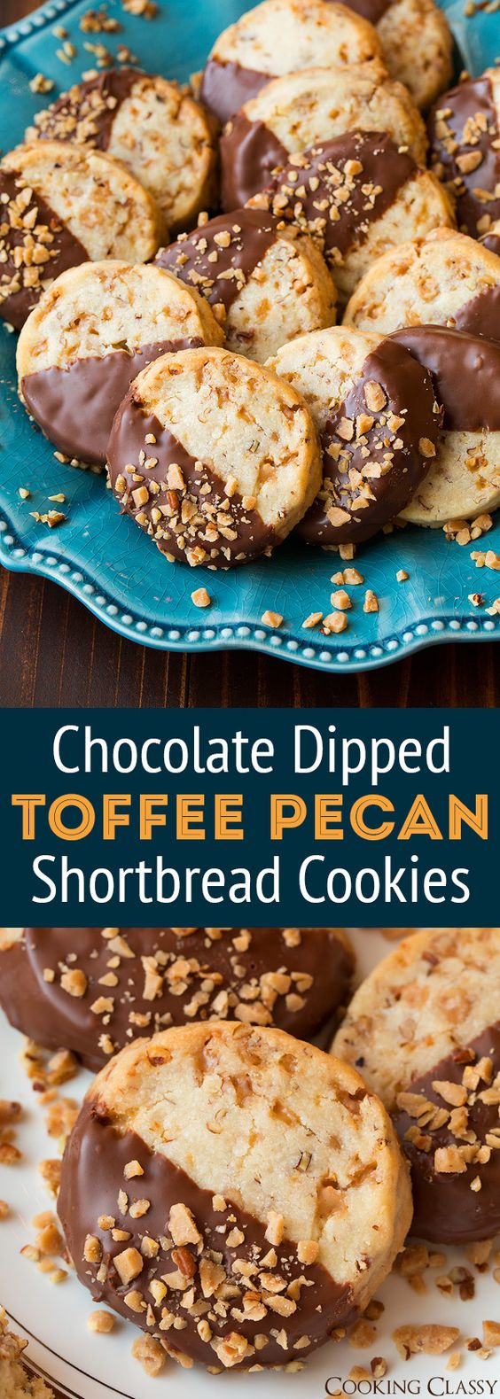 Chocolate Dipped Toffee Pecan Shortbread Cookies