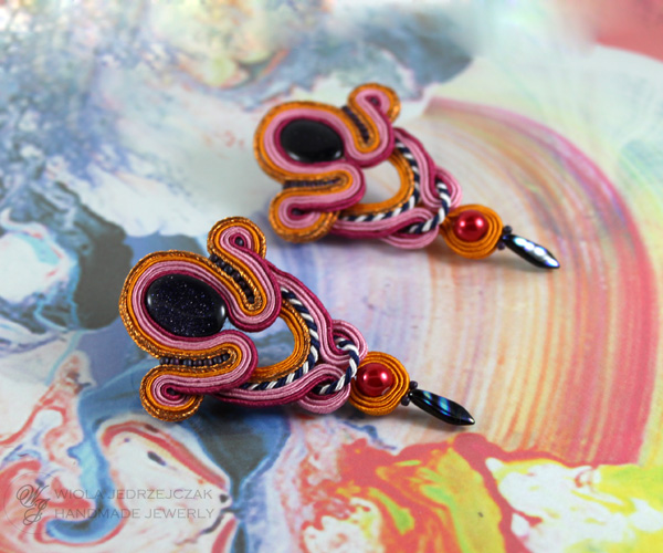 soutache earrings, pink, orange, cooper and navy blue