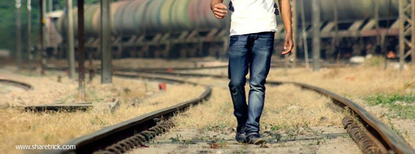 Boy walking alone on a railway track cover picture is one of the latest timeline banner photo for boys and their FB accounts plus other Social Profiles Boy waiting with luggages facebook cover