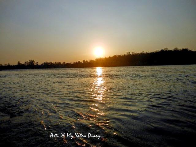 Sunset by the River Ganga at the Parmarth Niketan Ashram, Rishikesh, Uttarakhand
