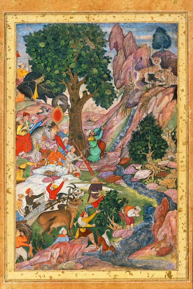 Akbar Hunting Mountain Lions, Miniature from a copy of Abu'l-Fazl's Akbarnama - Mughal Painting, c1590