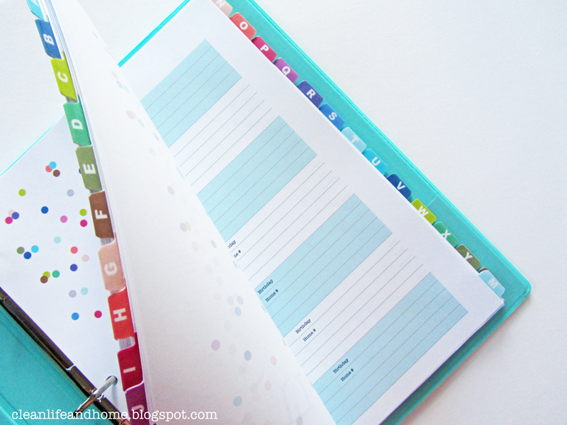 clean life and home  new printable address book with tabs