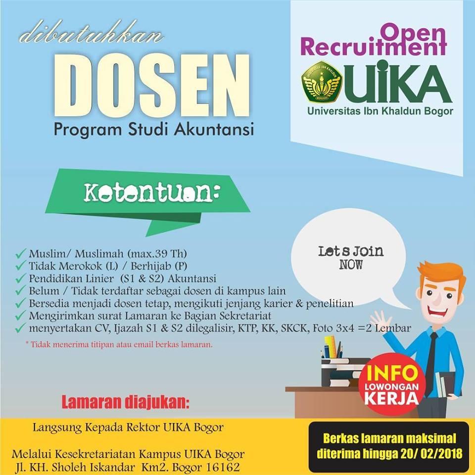 Lowongan Dosen Prodi Akuntansi Universitas Ibn Khaldun (UIKA) Bogor