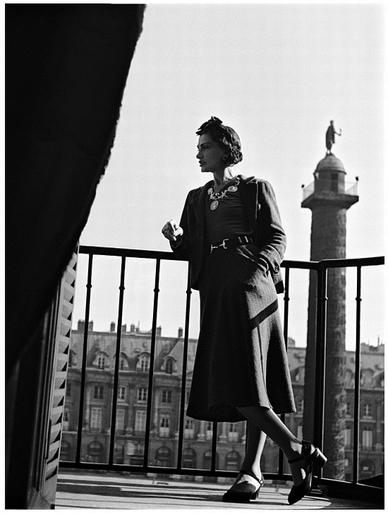 Coco Chanel portrait in her hotel suite balcony at the Ritz