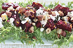 Roasted Beet Salad w/ French Feta, Toasted Hazelnuts, and Honey Orange Vinaigrette
