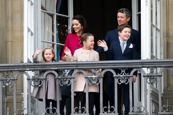 Crown Prince Frederik, and Crown Princess Mary of Denmark, with their children, Princess Josephine, Princess Isabella, Prince Vincent and Prince Christian, Prince Joachim of Denmark, Princess Marie of Denmark, Prince Nikolai of Denmark, Prince Felix, Count of Monpezat, Princess Athena and Prince Henrik