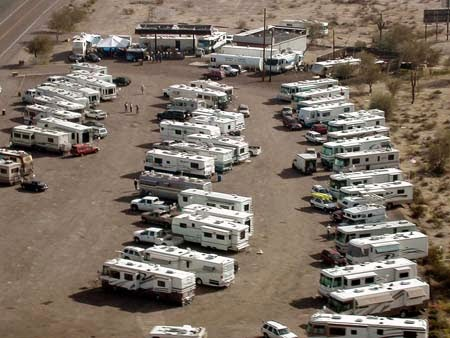Aerial shot of RVs at the first rally