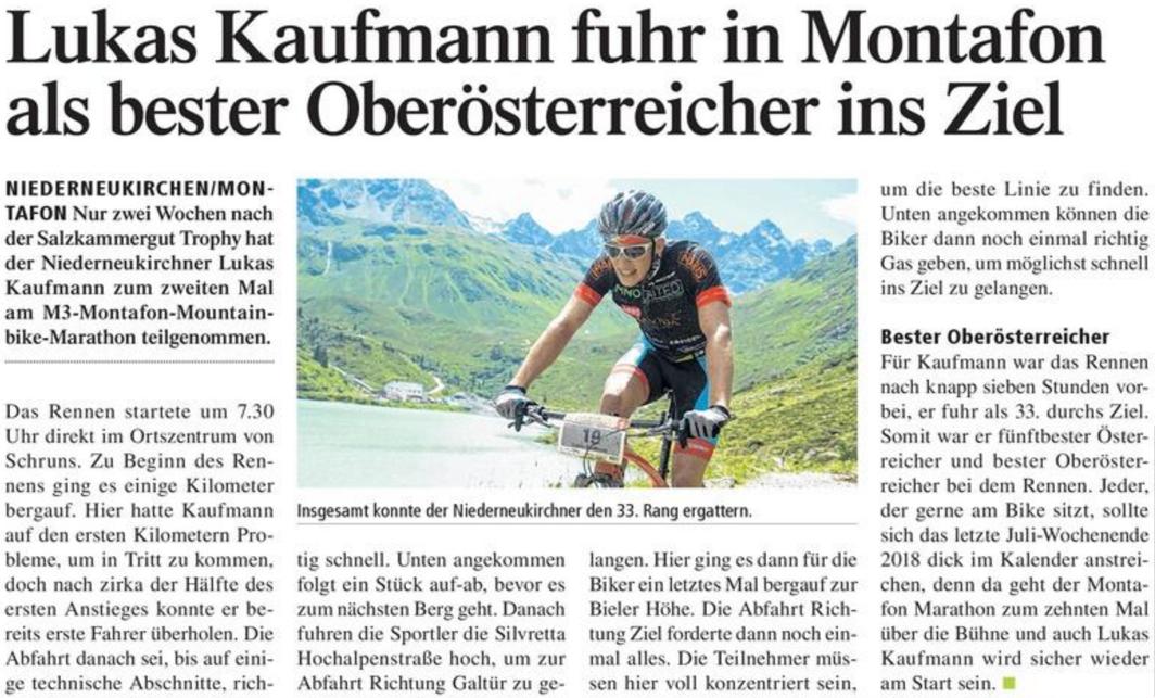 Lukas Kaufmann: Zeitungsbericht: TIPS Enns -> Montafon M3