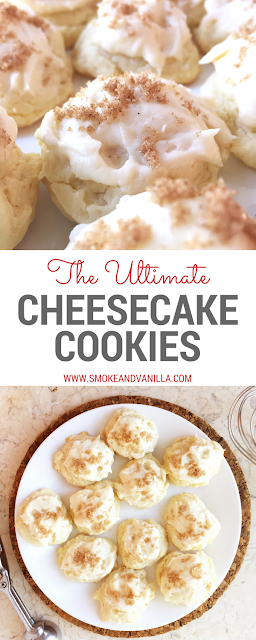Quick and Easy Cheesecake Cookie Recipe by www.smokeandvanilla.com - Soft and decadent cream cheese cookies topped with cream cheese buttercream and a dusting of brown sugar and cinnamon. http://bit.ly/2n7WTGu