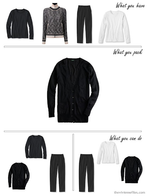adding a black cardigan to a black, white and beige travel capsule wardrobe