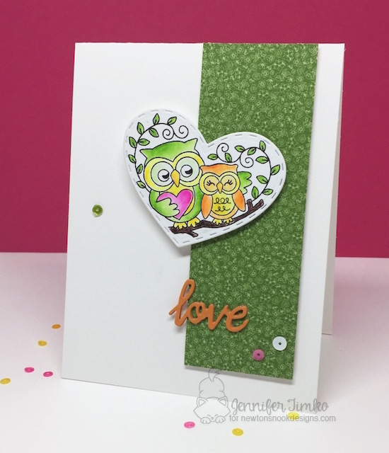 Owl love Card by Jennifer Timko | Woodland Duos stamp set by Newton's Nook Designs #newtonsnook