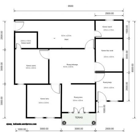 denah rumah minimalis ukuran 6x8m 3 kamar 3
