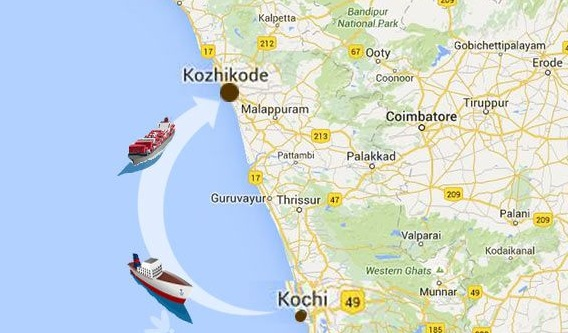 Daily Non Stop Passenger Cum Tourist Ship Service from Cochin to Calicut and Return, Cochin to Calicut Ship Journey Route