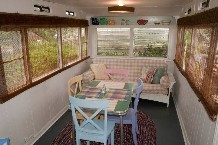 We Hung Bamboo Blinds In This Room Too And Furnished It With An Ll Bean Cottage