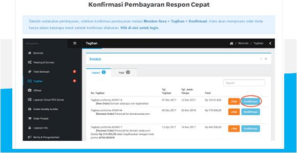 cara pembayaran domain di niaga hoster dengan mandiri online