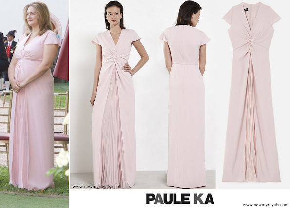 Princess Stephanie wore Paule Ka Crepe long dress with satin back