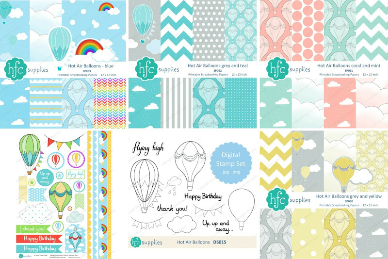 Hot Air Balloon printable paper sets, collage sheet and digital stamp available from hfcSupplies.Etsy by Hazel Fisher Creations