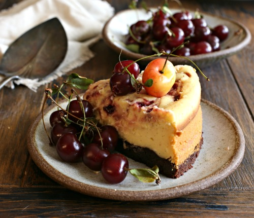 Brownie-Bottom-Cherry-Swirl-Cheesecake