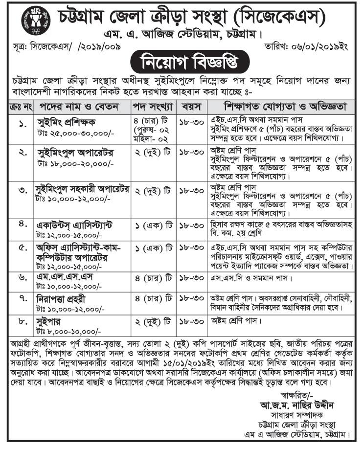 Chattogram Jela Krira Sangstha (CJKS) Job Circular 2019