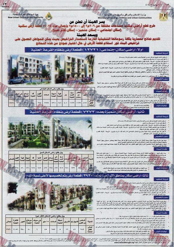 وزارة الاسكان طرح اراضى سكنية بمساحات مختلفة من 209م الى 1500م باجمالى 24024 قطعة ارض سكنية