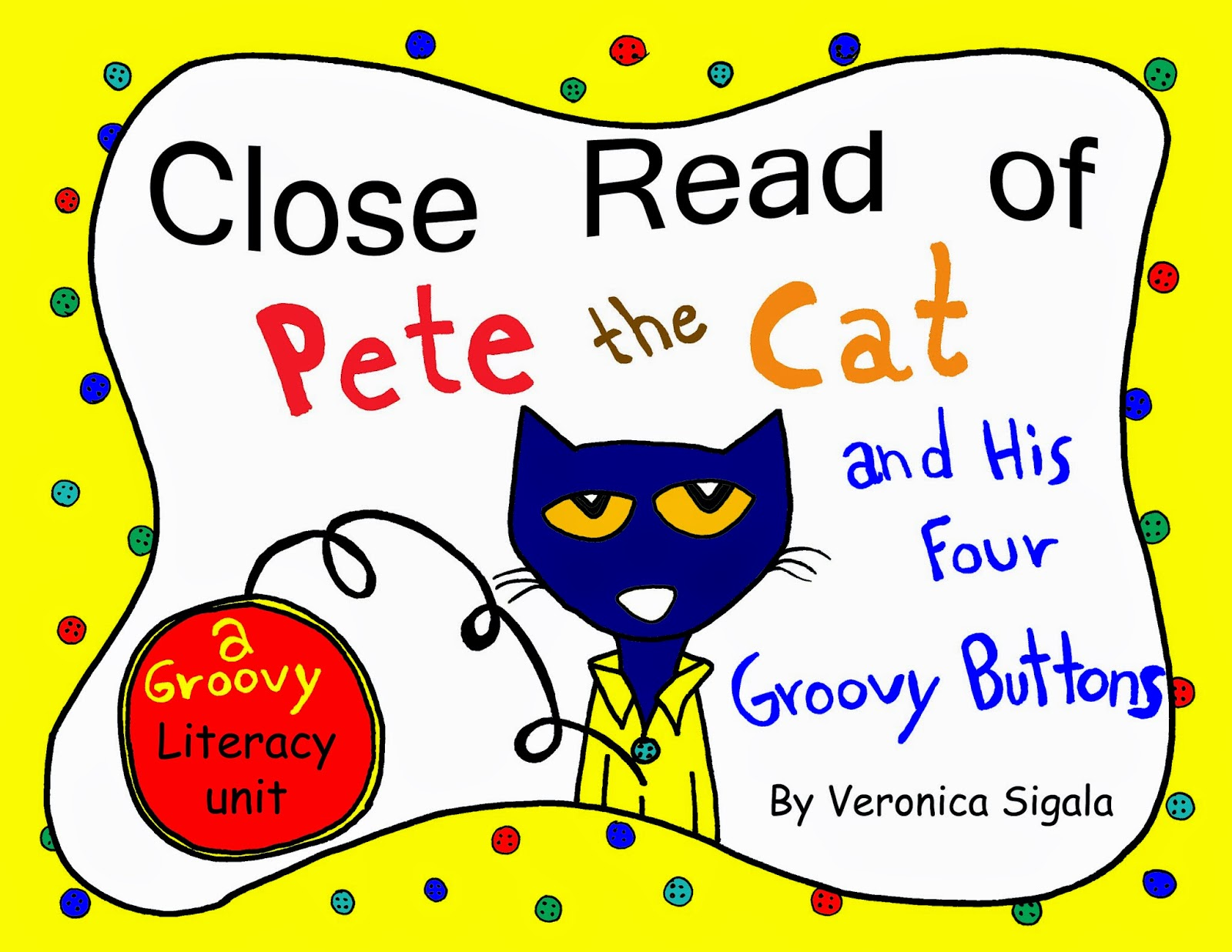 Pete Cat 4 Groovy Buttons Coloring Page