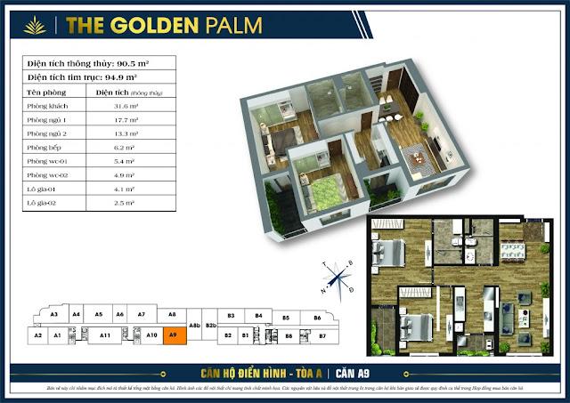 Mặt bằng căn A9 tòa A chung cư The Golden Palm