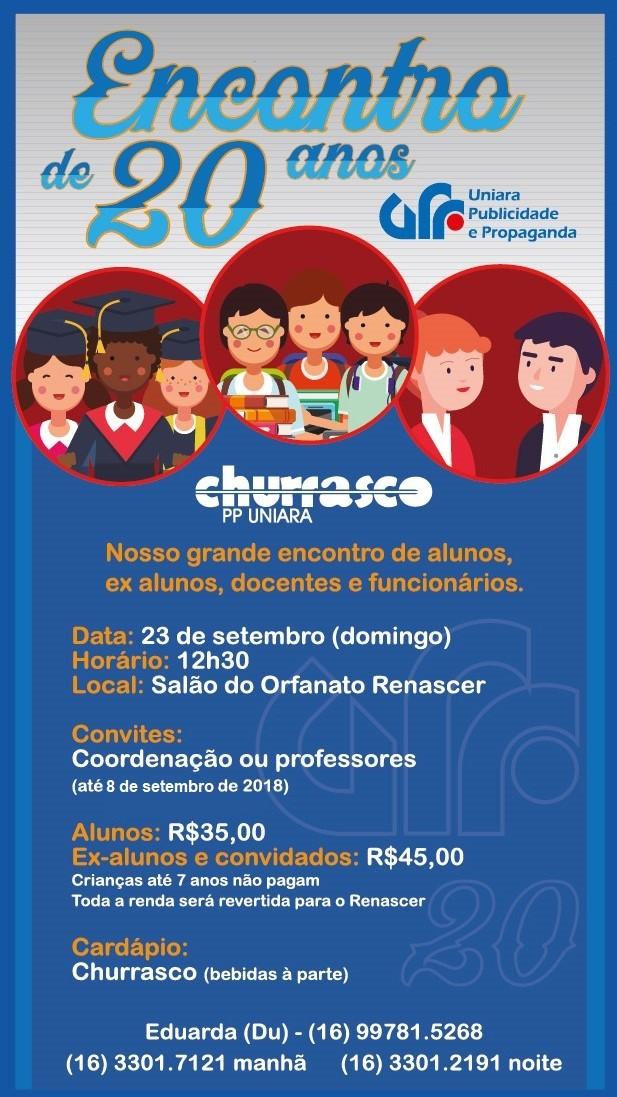 66750dabe1 Convites para a comemoração dos 20 anos do curso de Publicidade da Uniara  continuam à venda