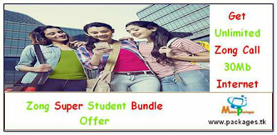 Zong super student bundle offer unlimited call to zong, 30 Mb Internet Just Rs.5
