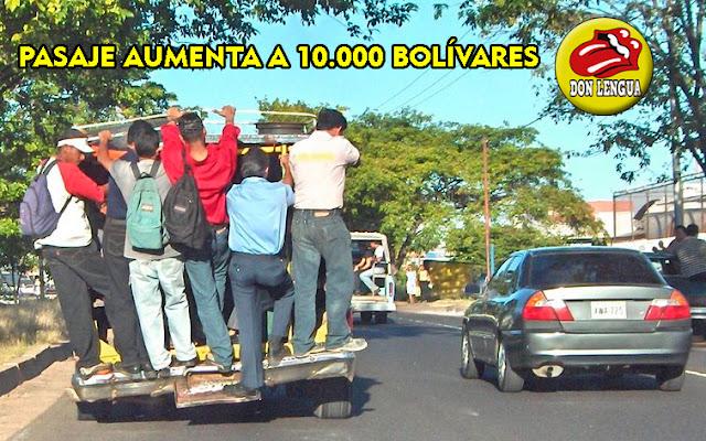 Pasaje Mínimo sube a 10.000 bolívares en los próximos días