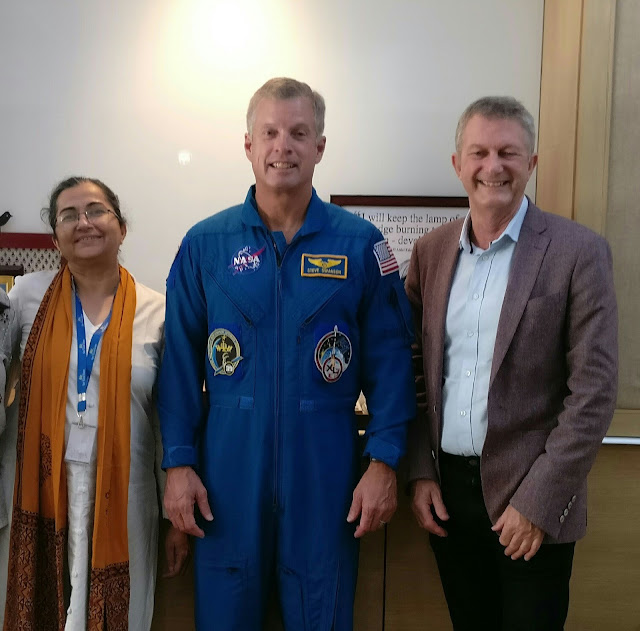 Principal Shashi Banerjee- Shiv Nadar School, Astronaut Steven Swanson and  Chris Barber, Founder ISSET