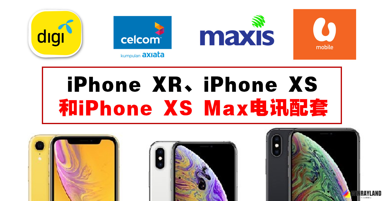 iPhone XR、iPhone XS和iPhone XS Max电讯配套