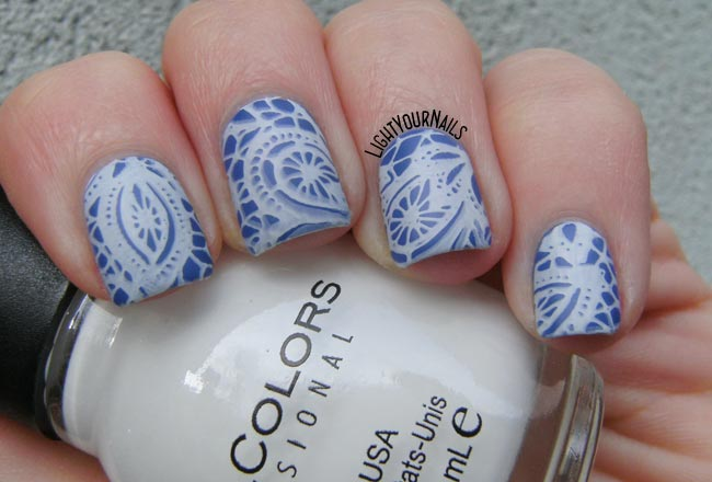 Blue and white nail stamping feat. P2 Cosmetics High Five and BP103 stamping plate