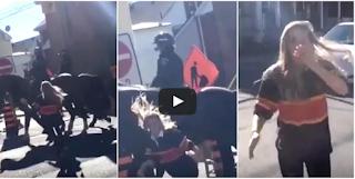 Mulher Golpeia Cavalo Da Polícia Americana – Agora Veja A Reação Dele Quando Ela Tenta Fugir!