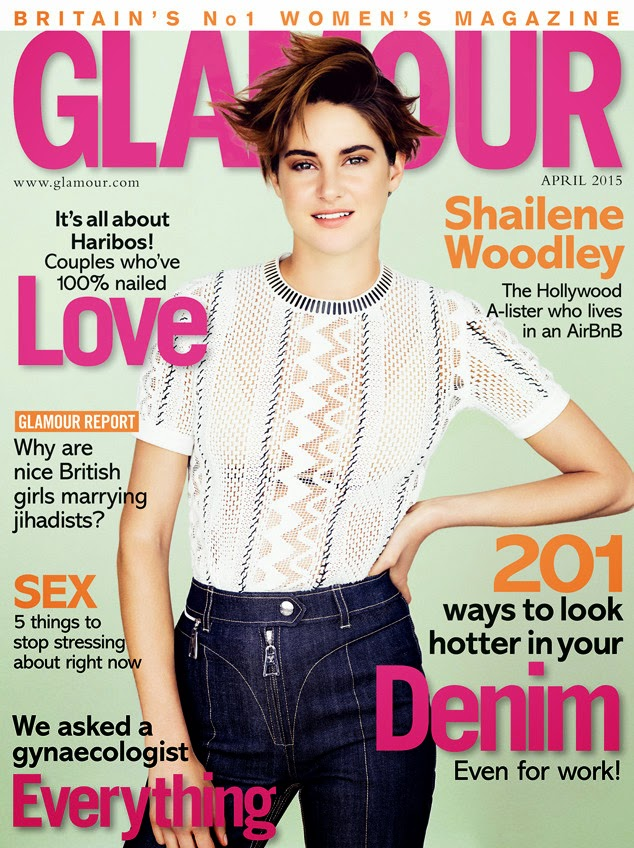Shailene Woodley shows off skin for the Glamour UK April 2015 issue
