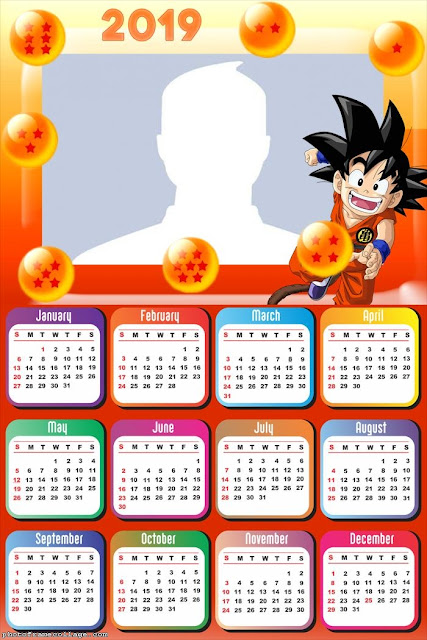 Calendario 2019 de Dragon Ball Z para Imprimir Gratis.
