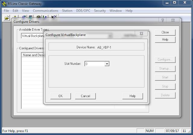 Seleccionar el slot para el driver de comunicación RSLinx Classic
